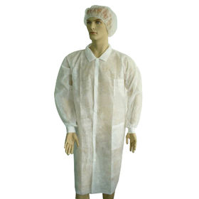 China PP Lab Coat, Made of PP, Elastic Cuffs