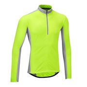China Reflective shirt cycling jersey man back pockets long sleeve 1/4 zip dry fit