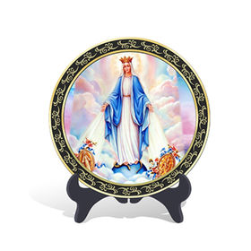China Religious Catholic Assumption of Virgin Mary Plate Activated Carbon Carving Craft