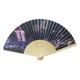 China Head blue floral bone paper fan