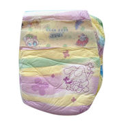 Disposable baby diaper, cute sung top sheet with hook and loop tape, elastic waistband