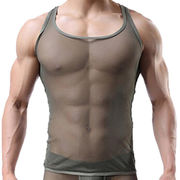 Men's Mesh See-through Tank Top Vest from China (mainland)