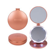 Folding Travel Mirror with Light - 1X and 5X Magnifying Makeup Mirror with Dimmable Lights, Battery