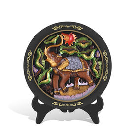 China New Activated Carbon Carving Craft,Southeast Asia Thailand Elephants Plate with holder