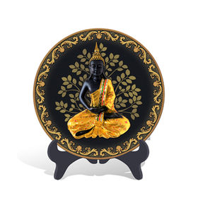 Religious Thailand Figure of Buddha Plate Activated Carbon Carving Craft