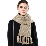 Style winter Scarf with fringe from Hangzhou Willing Textile Co. Ltd