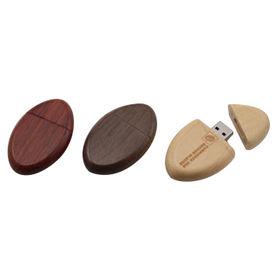 China Maple/Walnut/Mahogany Wooden Oval USB Flash Drive