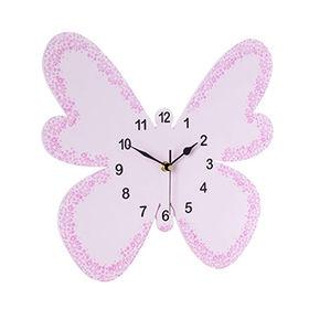 2017 new design pink butterfly wooden wall clock W09D019