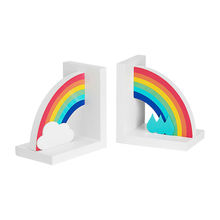 2017 brand new children's rainbow wooden decorative bookends for sale W08D065