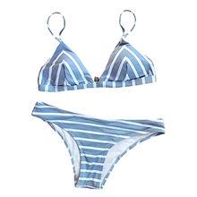 China Women Stripe Printing Bikini Set Beach Bathing Su