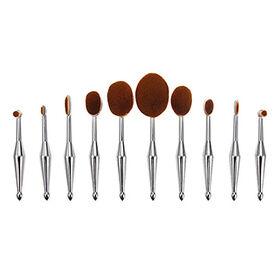 Rose Gold 10-piece Multipurpose Latest Design Tooth Brush-shaped Oval Makeup Brush Set