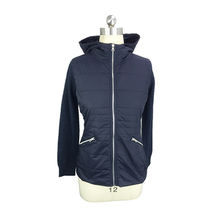 Women's knitted sweater with quilted front and hood from Hangzhou Willing Textile Co. Ltd
