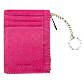 China Leather Zip Credit Card Holder Wallet with ID Window Keychain RFID Blocking