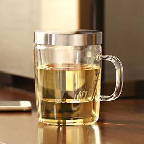 China Glass Mug and Stainless Steel Tea Strainer from Samadoyo