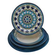 Hot sale wholesale ceramic dinnerware porcelain blue decorative flat plate, European type style