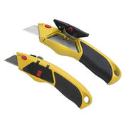 Hong Kong SAR Box cutting knife with plastic inlays aluminum handle, 5 spare blades can be replaced