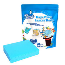 Customized size laundry sheets in bag packing, 20 sheets/bag