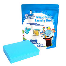 Super clean power laundry sheets in China, 30 sheets/bag