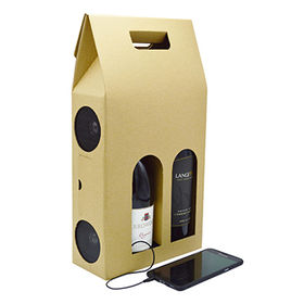 Promotional Amplifier Speaker wine box pack for carrying 2 red wines, made of cardboard