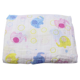China 100% cotton muslin baby blanket,breathable,various printing are available,OEM order is welcomed