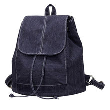 China Plain blue denim backpacks for girls