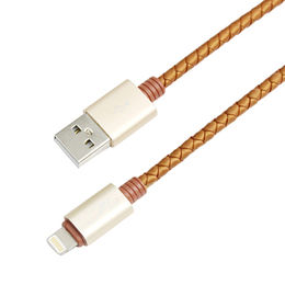 PU leather design fashion color braided lightning USB cable from Dongguan Heyi Electronics Co. Ltd