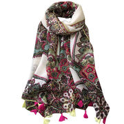 Paisley Print Polyester Scarf, with Colored Tassels, Orientation Print