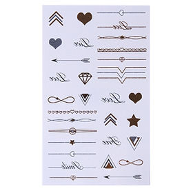 China Safe Body Gold/Silver Temporary Tattoo Sticker