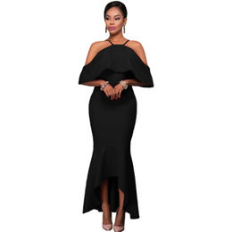 Black Ruffled Sleeves High-low Hem Party Maxi Dress, Made of Polyester + Spandex from Nan'an City Shiying Sexy Lingerie Co. Ltd
