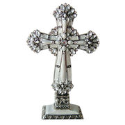 Antique Silver White Paint with Clear Stones Jeweled Metal Stand Cross