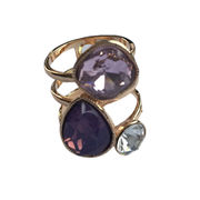 New Fashion 18K Rose Gold Plated Colorful Purple Crystal Luxury Geometric Finger Ring For Women from HK Yida Accessories Co. Ltd