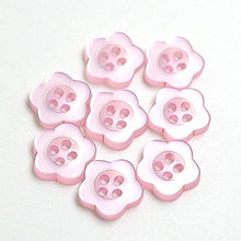 Special pink color painted flower shape resin button