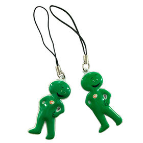 Green figure mobile phone pendant, cheap promotional item from Hot and Cold Products Co. Ltd