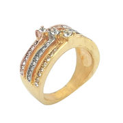China Stainless steel ring, tri color with crystal