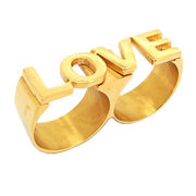 China Stainless Steel Jewelry Ring, Love 2 Fingers