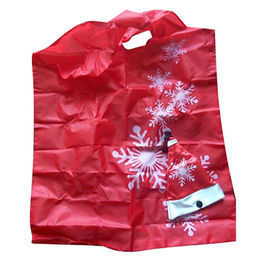 Polyester foldable shopping bag, polyester Christmas cap shape, customized colors/shape are accepted