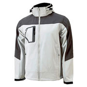Branded softshell jacket for outdoor clothing in white and grey