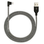 China USB to lightning cable for iPhone right angle with W strips outer braided MFi license