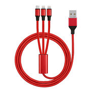 China USB AM to micro type C lighting 3-in-1 cable for mobile phone