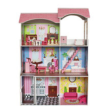 2017 best preschool pretend play large wooden kids doll house set W06A248