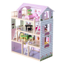 China 2017 best luxurious 4 floors children's wooden dollhouse kits with garage W06A238
