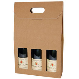 China Paper wine box bag for 3 bottles pack, hand bag for wine and drinks, custom design is available