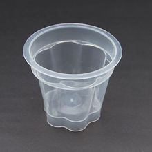 Plastic jelly cup for dessert using, like pudding, jelly, wrapped in request