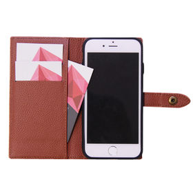 Leather Case for iPhone, Book Phone Case PU Flip Card Slot Case Cover with Strap from Guangzhou Kymeng Electronic Technology Co., Ltd