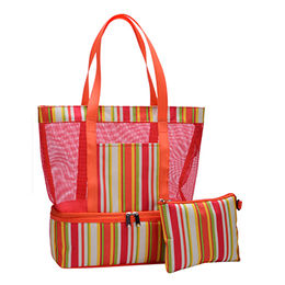 Beach cooler bag with mesh compartment DK7-9011 from Xiamen Dakun Import & Export Co. Ltd