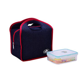 Denim Lunch Cooler Bag with Meal Box Thermal Insulated Tote Bags from Xiamen Dakun Import & Export Co. Ltd