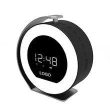 China 2018 round alarm clock bluetooth speaker, wireless speaker with screen