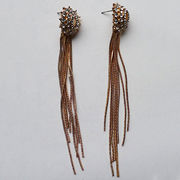 Full Sparkly Crystal Stud Earrings, Long Snake Dangle Chains, Lead and Nickle Free