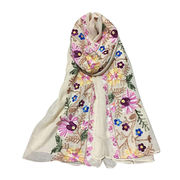 China Exquisite Embroidery Scarf, Made of Cotton Linen, Available in 5 Colors