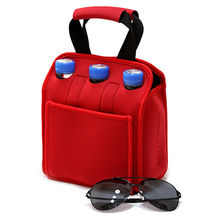 High quality insulated neoprene six pack beer bottle cooler bag, BSCI SMETA WCA and SA8000 Audited